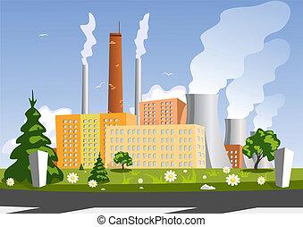 fabriek, vector, illustratie