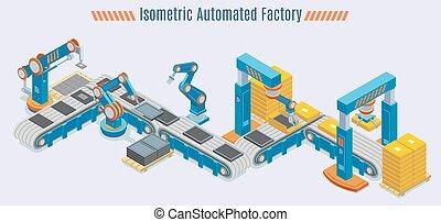 fabriekshal, isometric, concept, lijn, geautomatiseerd