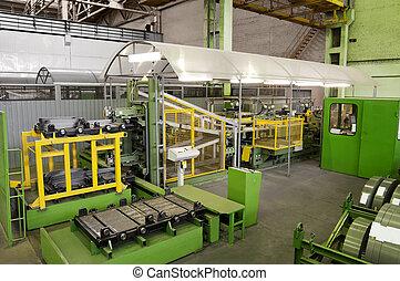 fabriekshal, machine, voor, holle weg, metaal, platen