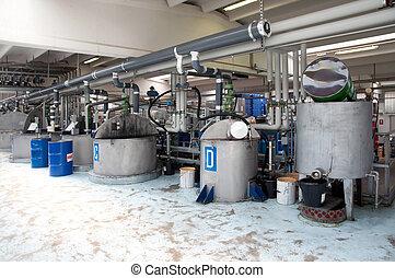 fabriekshal, van, industriebedrijven, olie
