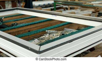 fabriekshal, van, pvc, vensters, op de tafel, leugen,...