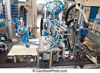 fabrik, -, byggnad, fodra, e, maskin, för, automation