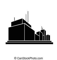 fabrik, geschäftsbüro, gebäude, silhouette, ikone