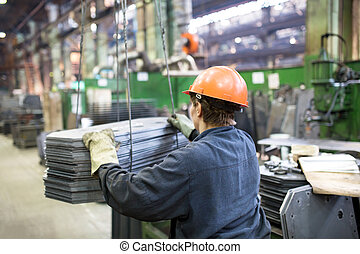fabrikarbeiter, transportieren, ladung
