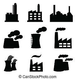 fabrikker, og, planter magt