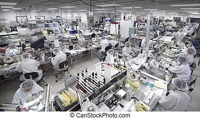 fabryczny, pokój, czysty