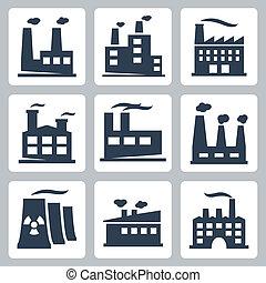 fabryka, wektor, komplet, odizolowany, ikony