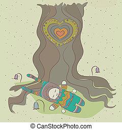 fabuleux, enfant, repos, arbre., illustration, sous, apprécie