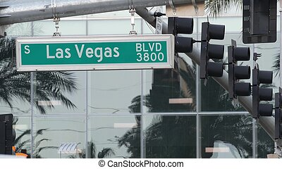Fabulos Las Vegas, traffic sign on The Strip in sin city of USA. Iconic signboard on the road to Fremont street in Nevada desert. Symbol of casino money playing, betting and hazard in gaming area
