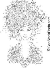 fabuloso, niña, con, verano, flores, y, mariposas, para, su, color