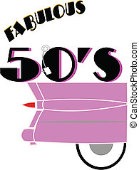 fabulous 50's - pink caddy with 50's theme on white