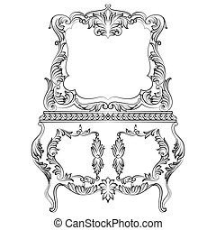 Fabulous Baroque Console Table and Mirror frame set. Vector...