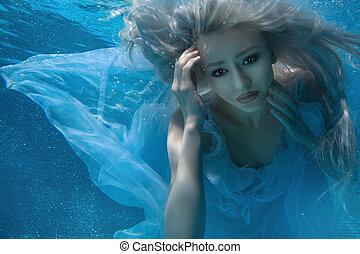 Fabulous blonde woman. - Blonde woman under water, her long...