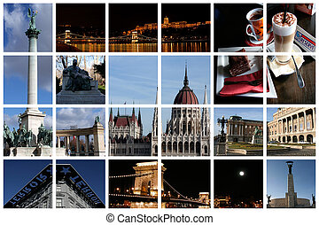 Fabulous Budapest collage with famous landmarks and views presented on a huge lattice
