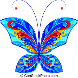 Fabulous butterfly - Fairytale abstract blue butterfly with...
