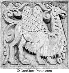 fabulous camel, bas-relief