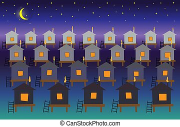 Fabulous city of houses on the water against the backdrop of the starry night sky