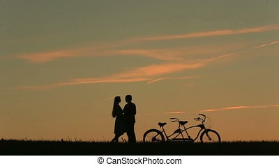 Fabulous Couple With Tandem Bicycles Dancing Waltz....