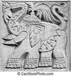 fabulous elephant, bas-relief