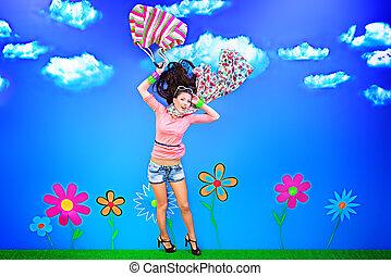 fabulous field - Romantic girl is running through the...