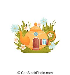 Fabulous house in the form of a teapot among grass and flowers. Vector illustration on white background.