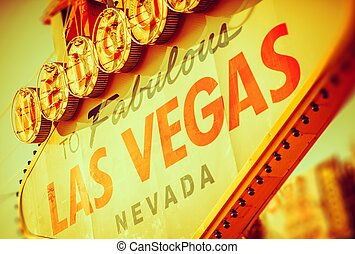Fabulous Las Vegas Strip Entrance Sign Closeup Photo. Las...