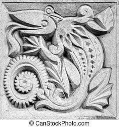 fabulous lizard, bas-relief