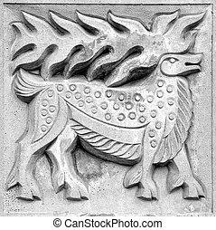 fabulous moose, bas-relief - fabulous moose, a stone...