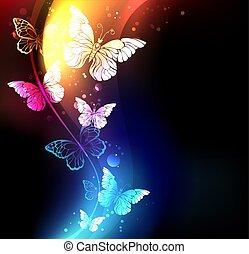 Fabulous night butterflies - Fabulous, glowing, blue and...
