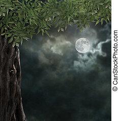 Fabulous night scenery, ancient trees, the bright moon