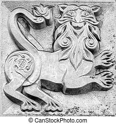fabulous panther, bas-relief