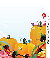 Fabulous Pumpkins - Three fabulous pumpkins on the sparkling...