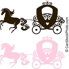 Fabulous Royal pink Princess carriage horse-drawn vector vintage girl stroller, logo, black and pink the silhouette icon on white background