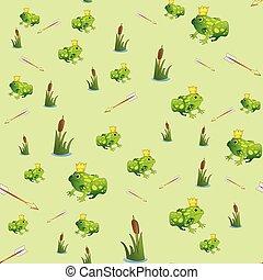 Fabulous seamless pattern with frog Princess.