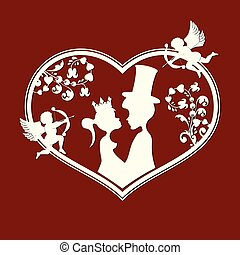 Fabulous silhouettes of the Prince and Princess with cupids
