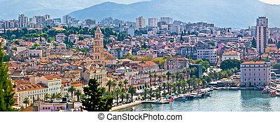 Fabulous Split waterfront aerial panorama, Dalmatia, Croatia