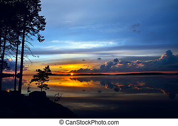 Fabulous sunset. Lake Pongoma, Northern Karelia, Russia