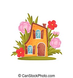 Fabulous two-story house in the grass and flowers. Vector ...