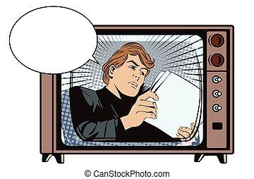 fac, lee, documents., noticias, hombre