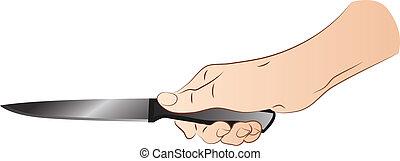faca, mão