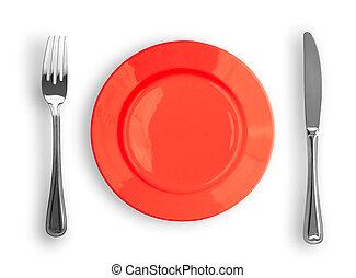 faca, prato vermelho, e, garfo, isolado