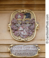 Facade coat of arms on the portal of Arsenal (Zeughaus) ...
