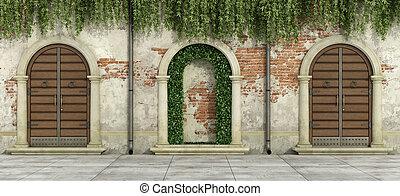 facade, døråbninger, gamle, af træ