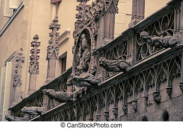 Facade details of old building