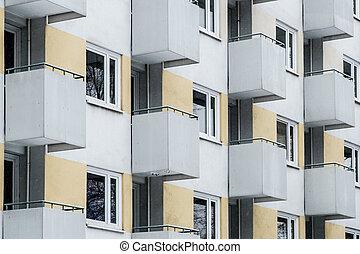 facade edifício, edifício apartamento, exterior, -