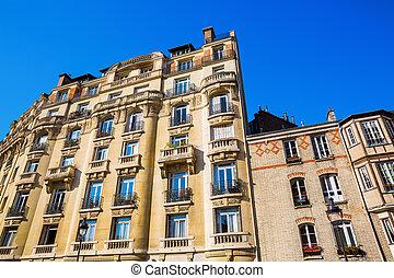 facade edifício, paris, histórico, frança