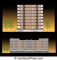 Facade-Habitation building, vector