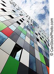 facade, multi, huisvesting, student, gekleurd