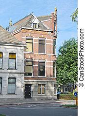 Facade of a beautiful building in the Dutch city Dordrecht,...