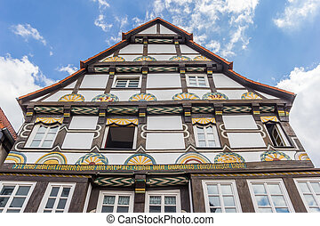 Facade of a historic half-timbered house in Hameln